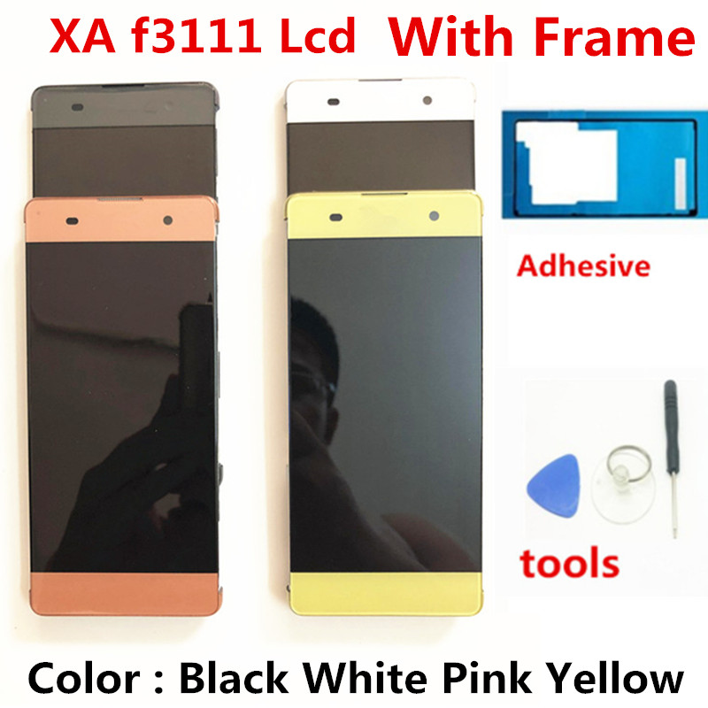 For Sony Xperia XA F3112 F3116 Dual SIM Touch Screen Digitizer Panel + LCD Display Monitor Assembly Frame + Tolls