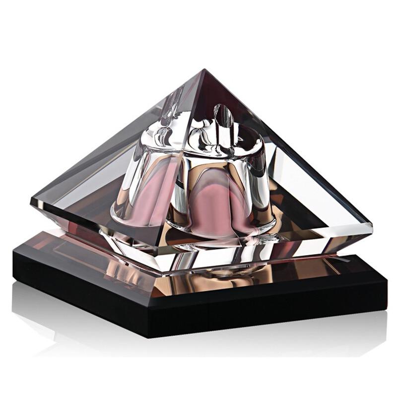Luxor Shape Luxury Refillable Parfum Car Perfume Bottles Empty Container Vintage Crystal Cut Glass for Decoration