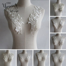 White Collar 1pc Lace Fabric High Quality DIY Handmade Dubai Trim Lace Material Neckline Lace Decor For Sewing Lace Flowers(China)