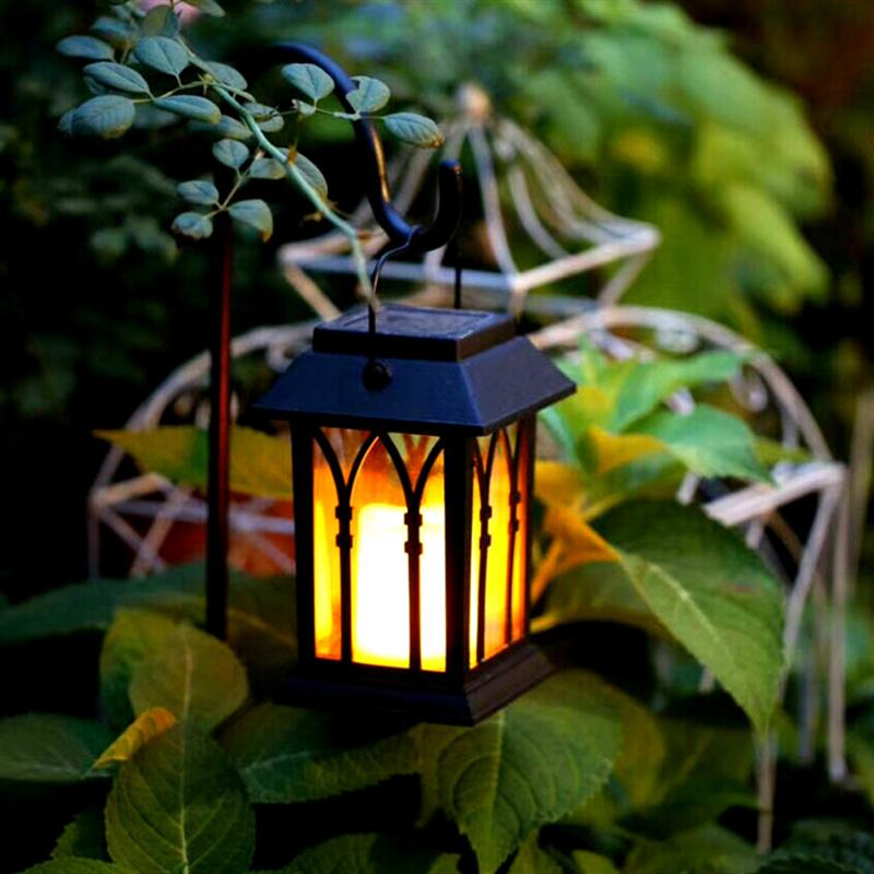 Vintage LED Solar Lantern Lights Outdoor Hanging Light Candle Lantern Solar Powered Garden Lamp For Garden Lawn Patio sylvan tall candle lantern
