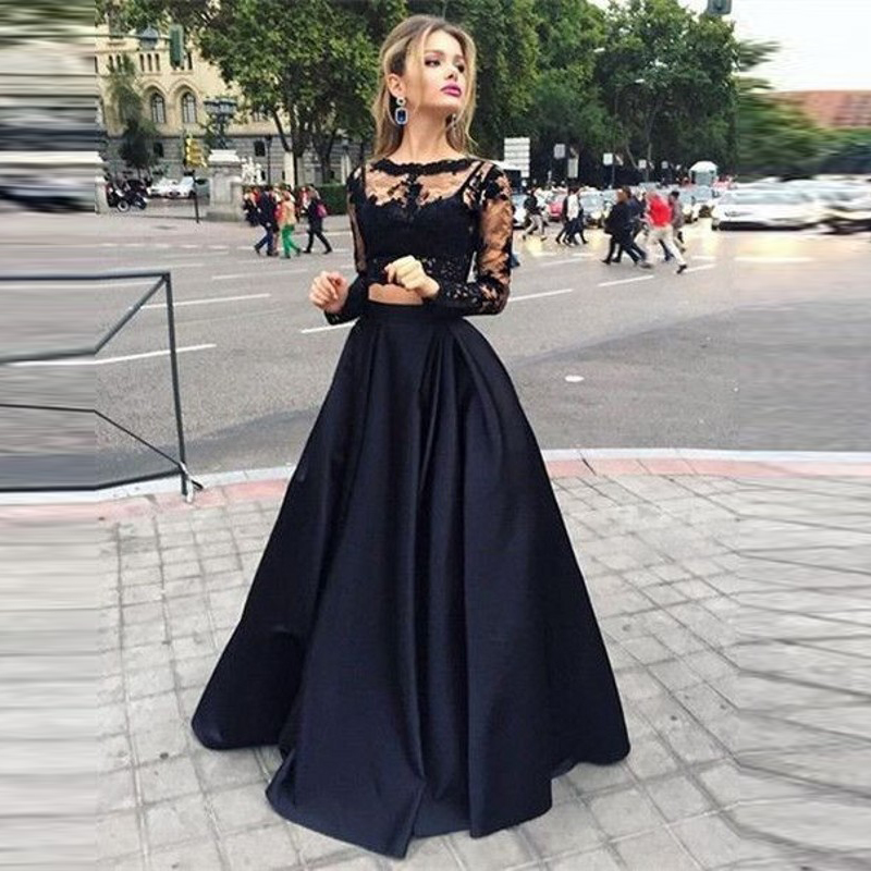 Fashion Black Long Skirt Custom Made A Line Floor Length Maxi Skirt New Arrival Autumn Winter Skirts Women Unique Party Skirt