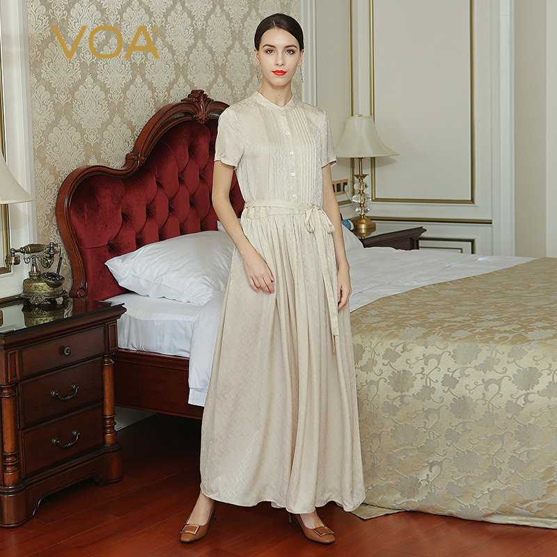 VOA grande taille soie Jacquard taille haute ceinture Slim tunique femmes chemise robe Beige décontracté Maxi longue robe plissée été A7035