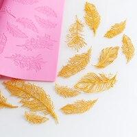 Pastel de moda tapete de encaje molde de silicona fondant decoración herramienta Grande de plumas de la vendimia pad