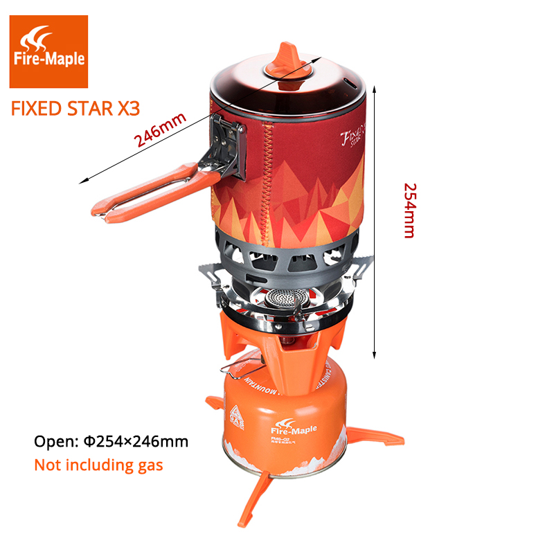 Fire Maple 1 Person Cooking System For Outdoor Hiking Camping Equipment Oven Portable Gas Stove Burner 1500W 0.8L fire maple fmw 503 outdoor portable 5 folding 9 section camping cooking stove windshield silver