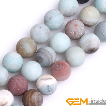 10mm 12mm Mixed Color Natural Frosted Matt Amazonite Stone Big Large Hole ( Size 2mm ) Beads For Jewelry Making Strand 15 Inch