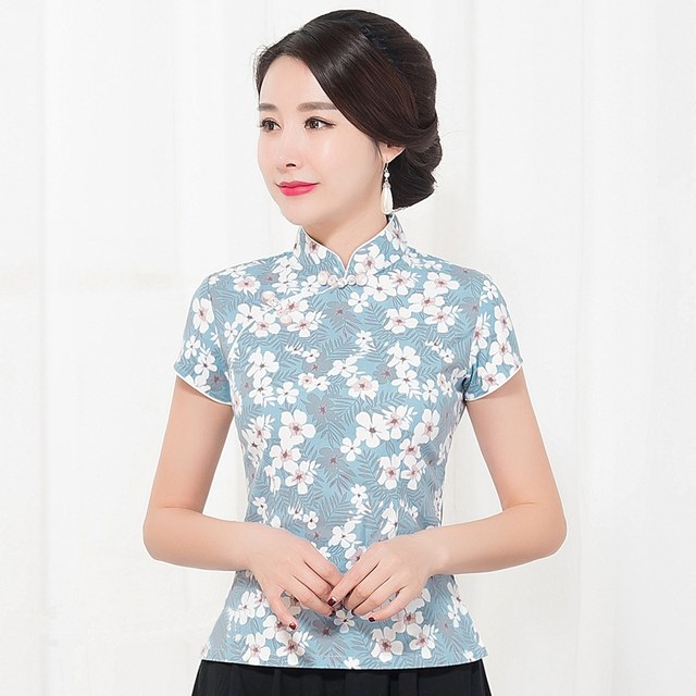 5a74b186fa9 Women Plus Size Vintage Garment Sexy Print Flower Clothing Summer Cotton Linen  Shirt Elegant Business Short Sleeve Clothes