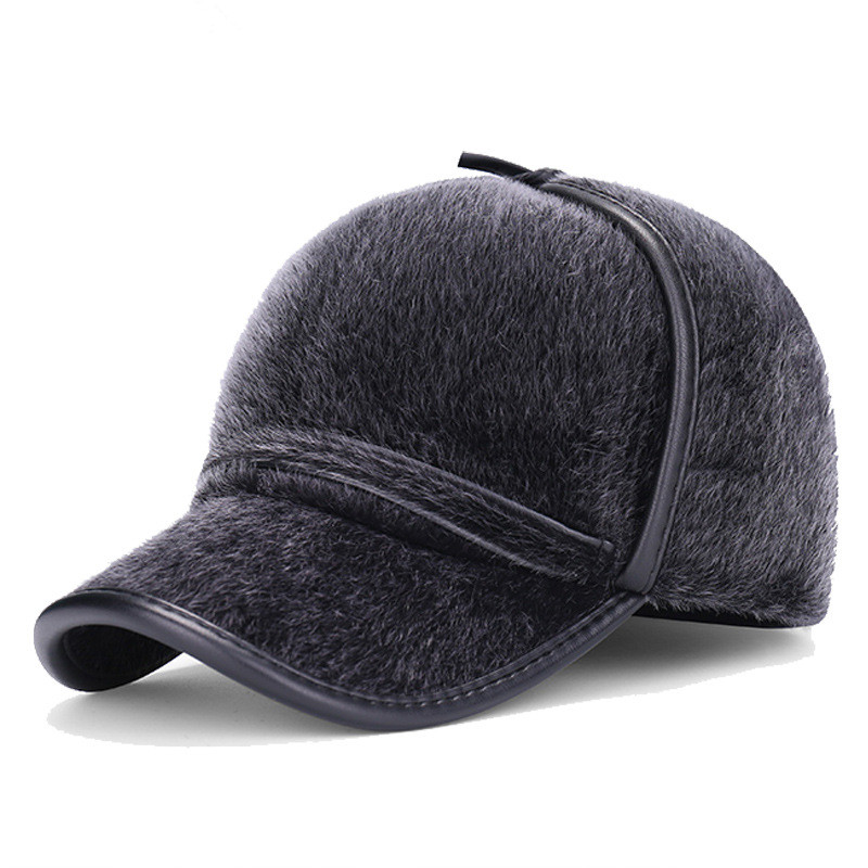 fleece baseball hat with ear flaps winter classic style caps high quality men font imitation mink