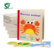 Gyerekjátékok Fa könyv 3D Puzzle Méret 17.5 * 14.5 * 2.1 Oktató játékok Montessori Angol nyelvű Játékok gyerekeknek