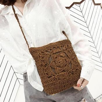 Bohemian wollow Out Beach Bag mujer Crochet flecos paja embrague hecho a mano día embragues tejido Boho verano bolsa Z70