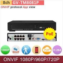 8 channel NVR 8ch DVR POE for 1080P/960P/720P HD ONVIF IP camera 1xSATA motion detection app mini cctv system GANVIS GV-TM8081P