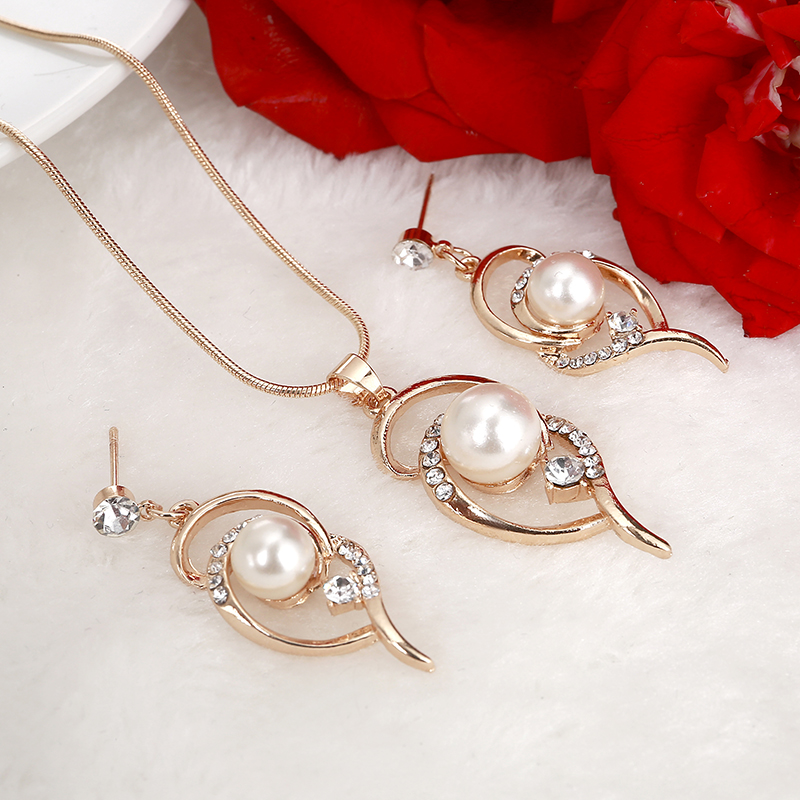 Hesiod Wedding-Jewelry-Sets Necklace Stud-Earrings Pearl Gifts Women for Lover Simulated