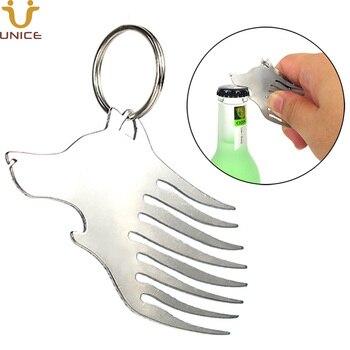 50 pcs/lot Multi-Functional Metal Stainless Steel Comb Wolf Head Shaped Key Ring Bottle Opener Comb for Hair Beard Custom LOGO