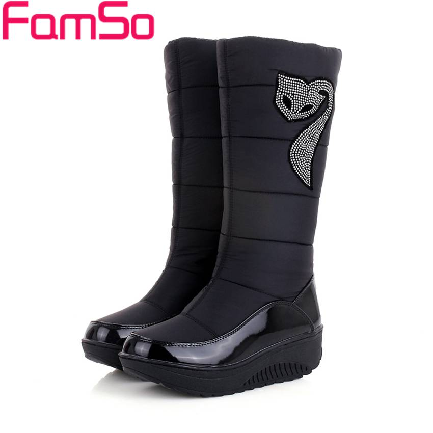 2016 new winter Russia keep warm snow boots Waterproof shoes platform down winter boots Rhinestone half
