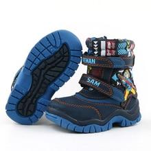 Бесплатная доставка 1 пара Водонепроницаемый Ботинки горнолыжные детские мальчик Снегоступы зима теплая Снегоступы модные Детские ботинки