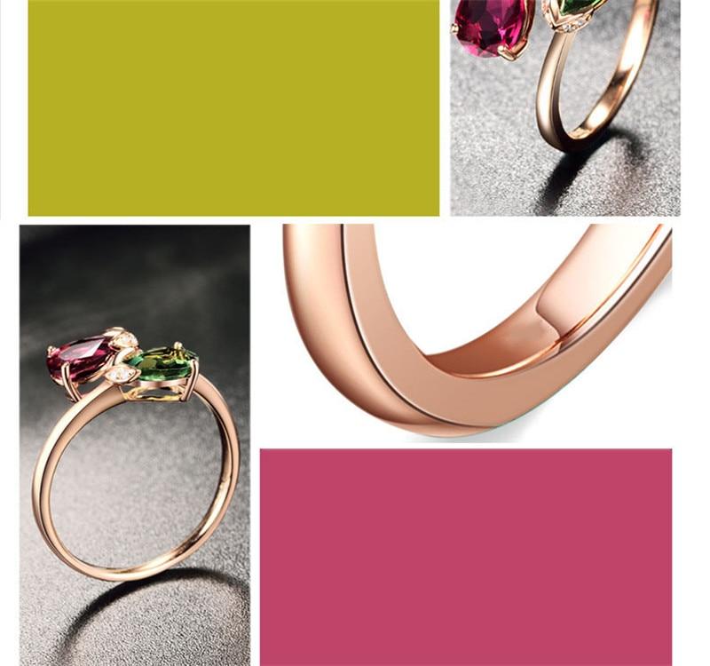 Кольца СС-для женщин, два цвета, в форме капли воды, камень, отверстия, регулируемое кольцо, кубический цирконий, простые ювелирные изделия, аксессуары Anillos CC1355