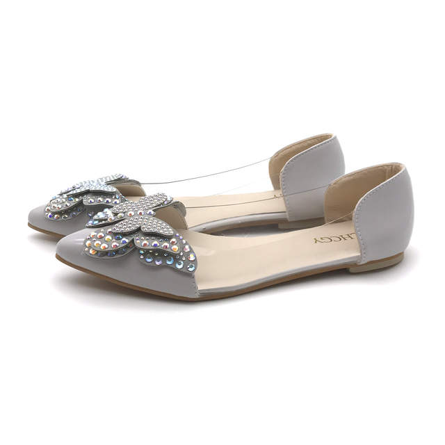 Spring Summer Women Slip on Flat Shoes Pointed Toe Crystal Butterfly Ballet  Flats Woman Dress Shoes 6f25f4ab666e