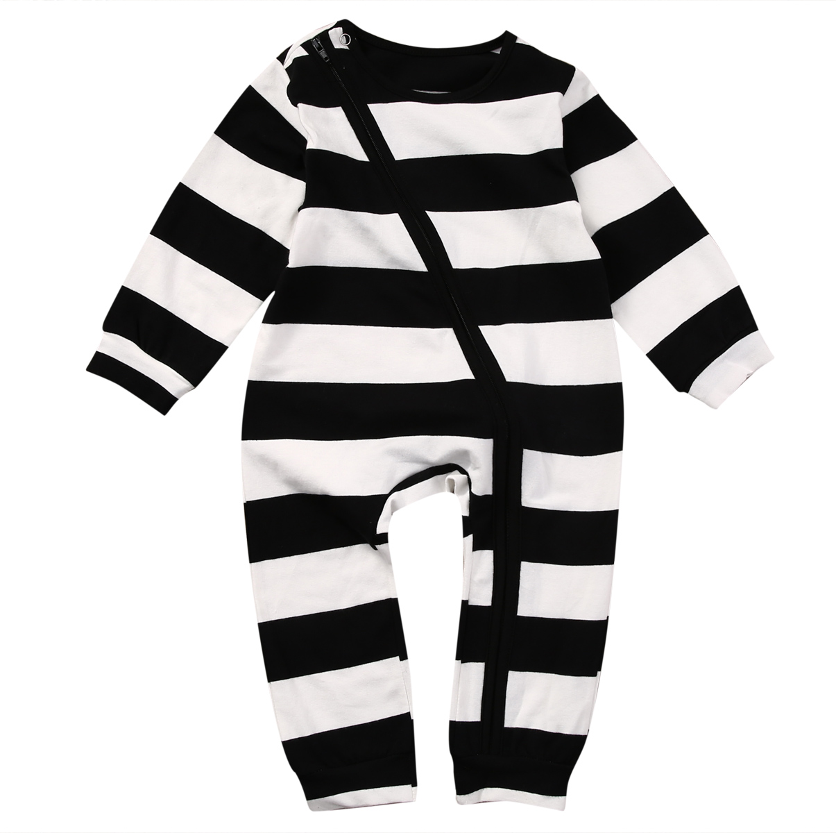 Pudcoco Baby Boys Clothes Zip Up Sleeper Long Sleeve Striped Infant Newborn Sleep and Play Suit stand collar 3d stars and striped print zip up padded jacket