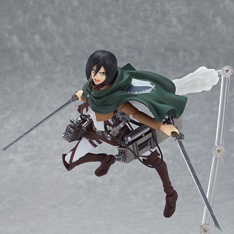 14cm Anime Attack on Titan Shingeki no Kyojin Mikasa Ackerman Figma PVC Action Figure Collectible Model Toy Doll metal gear solid action figure sons of liberty figma 298 soldier pvc toy 16cm anime games figures snake collectible model doll