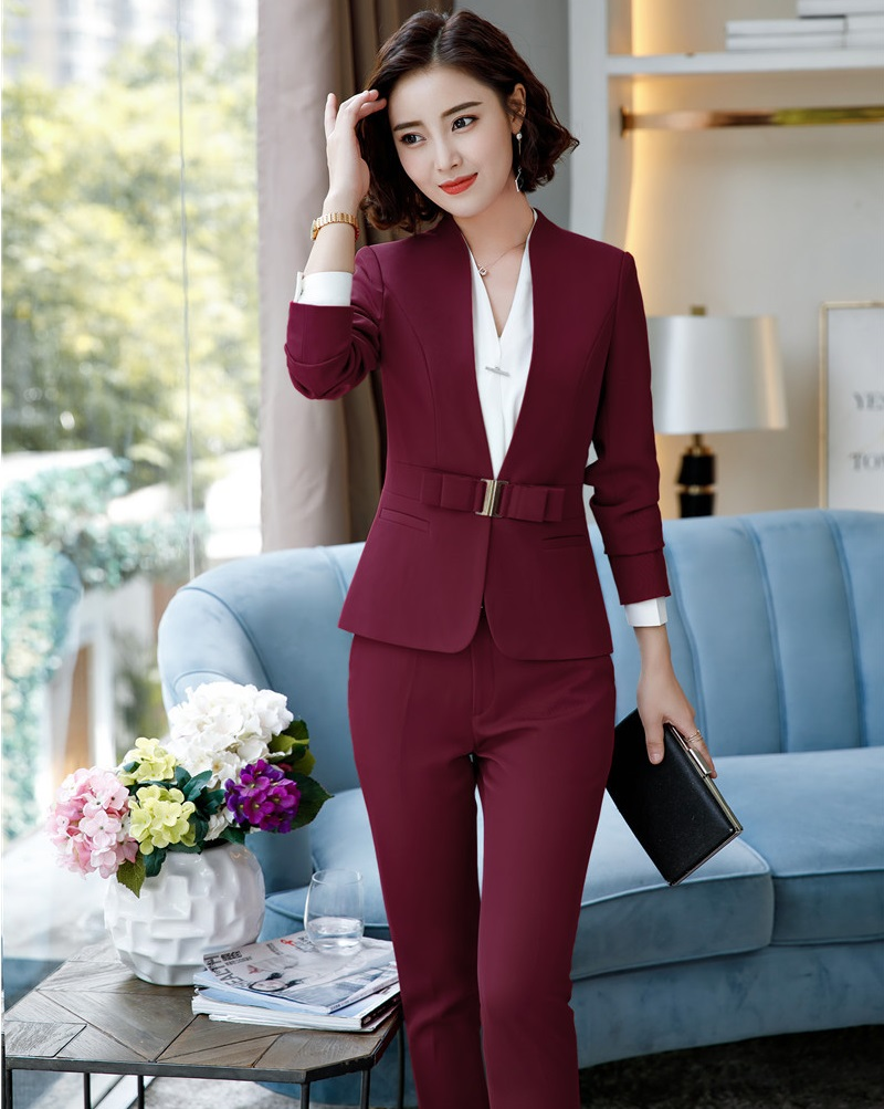 Elegant Wine Formal Business Suits Blazers With Tops And Pants Uniform Designs Pantsuits For Ladies Office Pants Sets New Styles