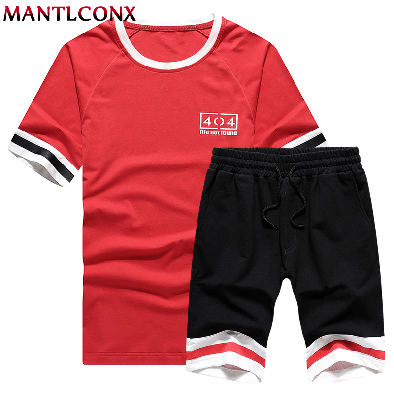 Mantlconx New Summer Short Sets Men Casual Suits Sportswear Tracksuit Male Outwear Tracksuits Patchwork T Shirt +Shorts Men 2019