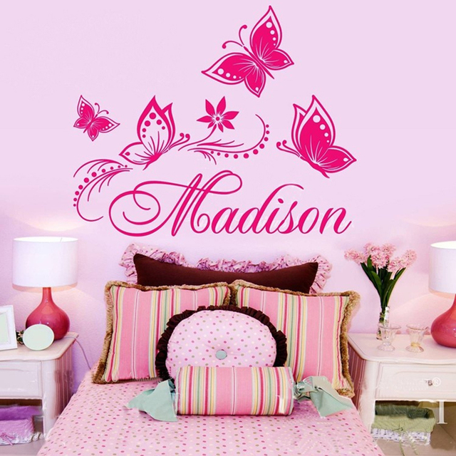 Personalized Name Butterfly Wall Sticker Removable Vinyl Princess Wall  Decals Mural For Girls Kids Room Decoration