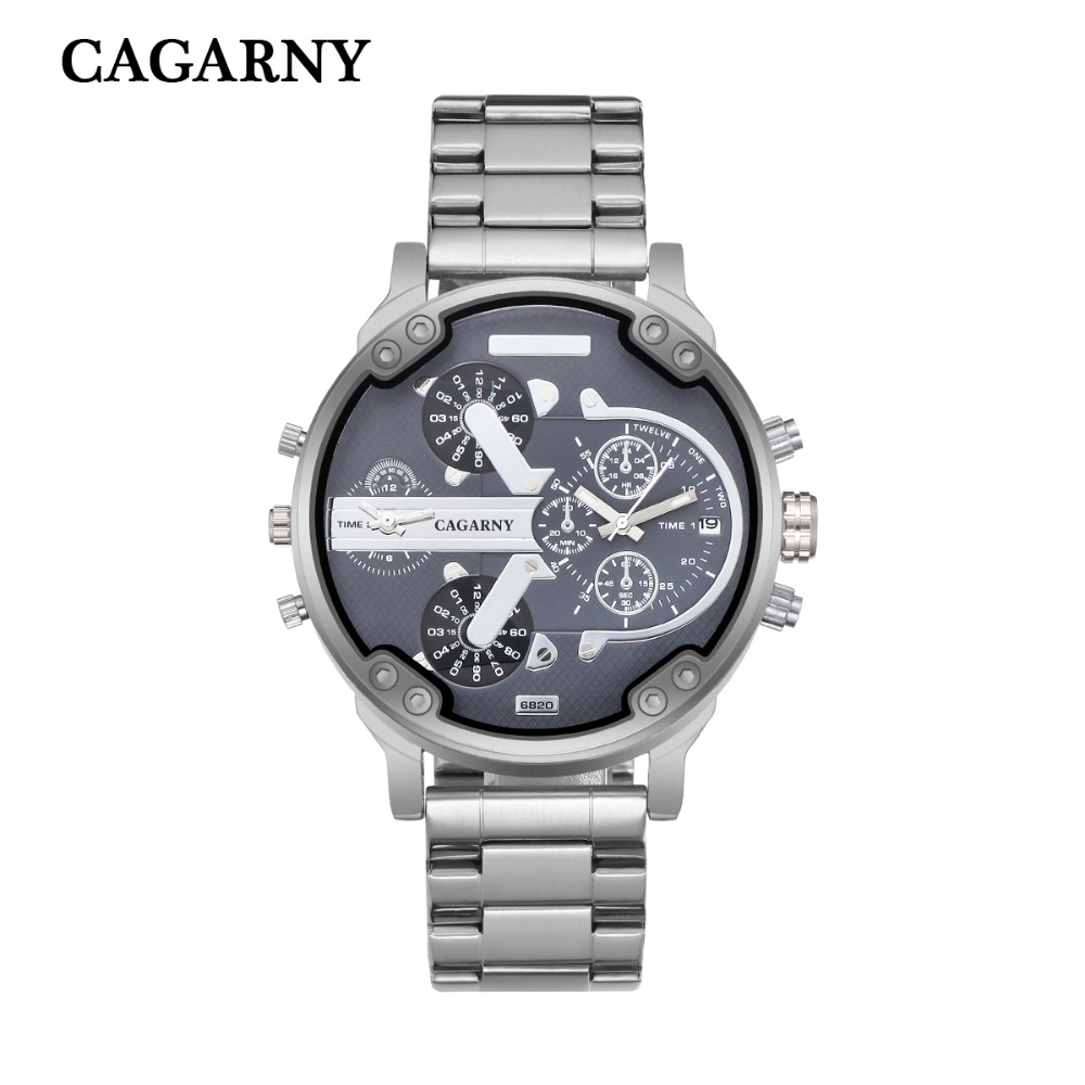 very cool dz big case mens watches full steel band dual time zones miltiary watch men quartz wrist watch free shhipping (5)