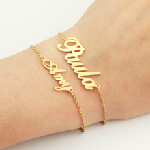купить Fashion Jewelry Custom Name Bracelet Personalized Stainless Steel Gold and Rose Gold Chain Bracelet дешево