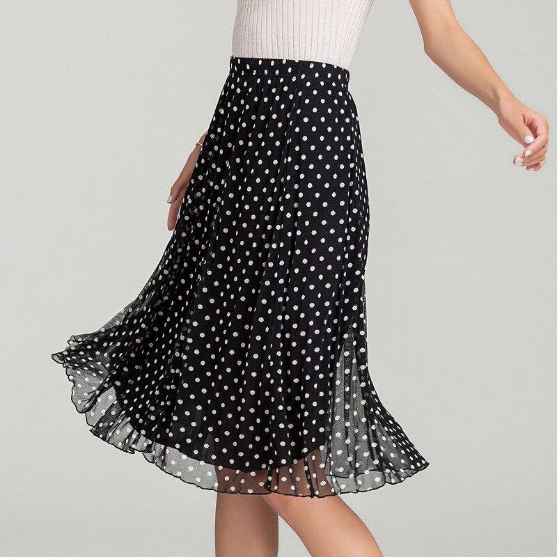Nowych kobiet 100% jedwabiu siatka linia w połowie długości spódnica damska podwójne jedwabne drukowane pół spódnica 9012 w Spódnice od Odzież damska na  Grupa 1