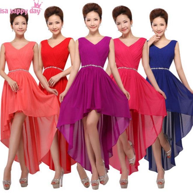 princess ivory v neck elegant chiffon   bridesmaids   high low   bridesmaid     dress   gown short front long back   dresses   for teens B3753