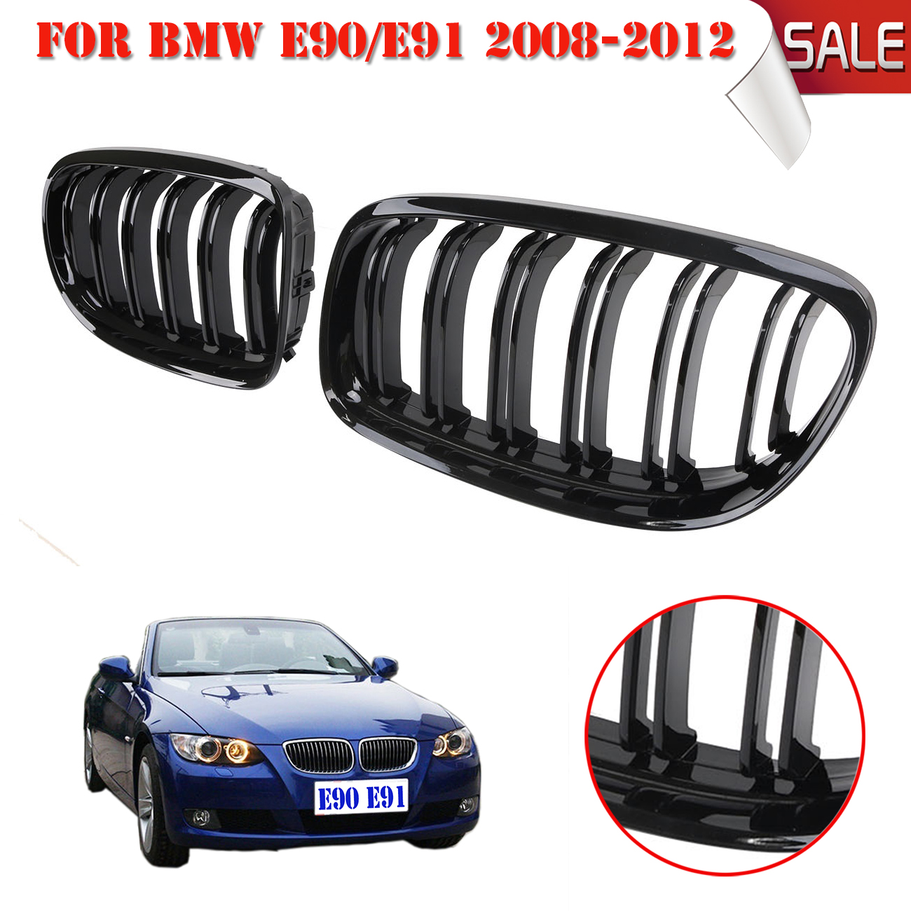 2x of Gloss Black Car Front Grilles Grill with Double Line For BMW E60 E61 5 Series 5-Serie M5 2003-2010 CAR-P341