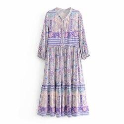 TEELYNN długa Sukienka fioletowy kwiatowy print rayon sexy dekolt w serek z długim rękawem kobiety sukienki czechy luźne Gypsy sukienki Sukienka vestido 6