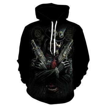 3D glasses Skull Hoodies Men/Women Funny Pullovers Sweatshirts Cool Upside Anime streetwear Print Male Hooded Tracksuits Hoodie