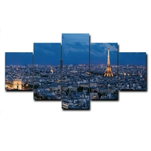 Laeacco Calligraphy Painting City Night View Wall Artwork 5 Panel Canvas posters and prints Home Bedroom Decoration Pictures