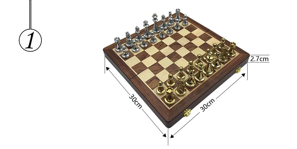 Easytoday Metal Glossy Golden And Silver Chess Pieces Solid Wooden Folding Chess Board High Grade Professional Chess Games Set (1)