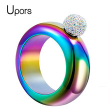 UPORS 3.5OZ Stainless Steel Bracelet Flask With Handmade Crystal Lid Creative Alcohol Bracelet Whisky Flask Bridesmaid Gift(China)