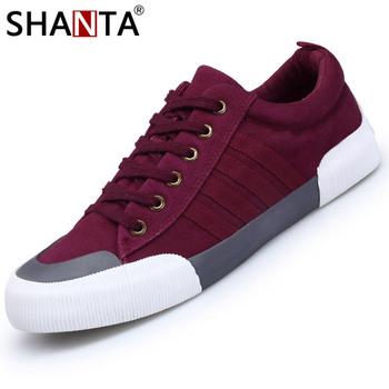 SHANTA 2019 męskie tenisówki moda jednokolorowe męskie buty wulkanizowane sznurowane białe buty na co dzień mężczyźni Sneakers chaussure homme tanie i dobre opinie Płótno latex Canvas Shoes Cotton Fabric Szycia Wiosna jesień Lace-up Mieszkanie (≤1cm) Pasuje prawda na wymiar weź swój normalny rozmiar