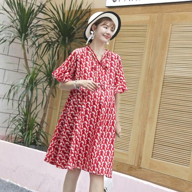 ae592ee8a86de Fashion Street Style Printed Chiffon Summer Pregnacy Dress Korean Elegant  Maternity Clothes for Pregnant Women Party