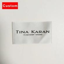 Высокое качество на заказ этикетки для одежды бренд вязания крючком машина белые тканые этикетки персонализированные пользовательские этикетки для женского платья