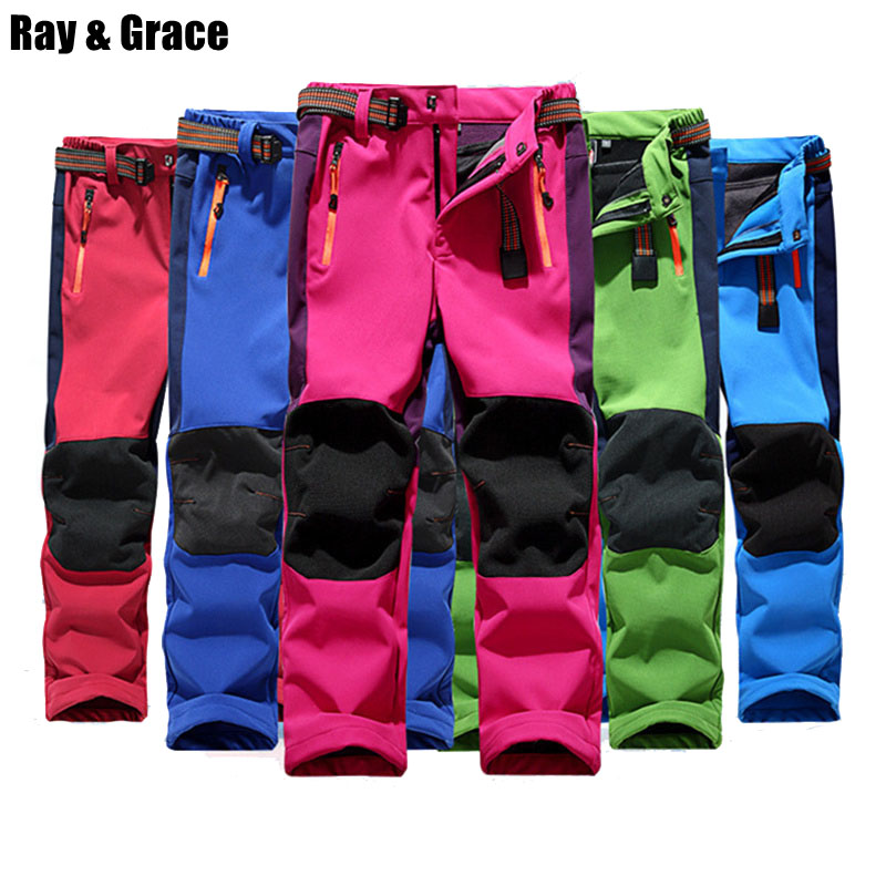 RAY GRACE Children Winter Outdoor Pants Waterproof Boys Hiking Trekking Camping Sports Warm Fleece Pants For Girls Trousers