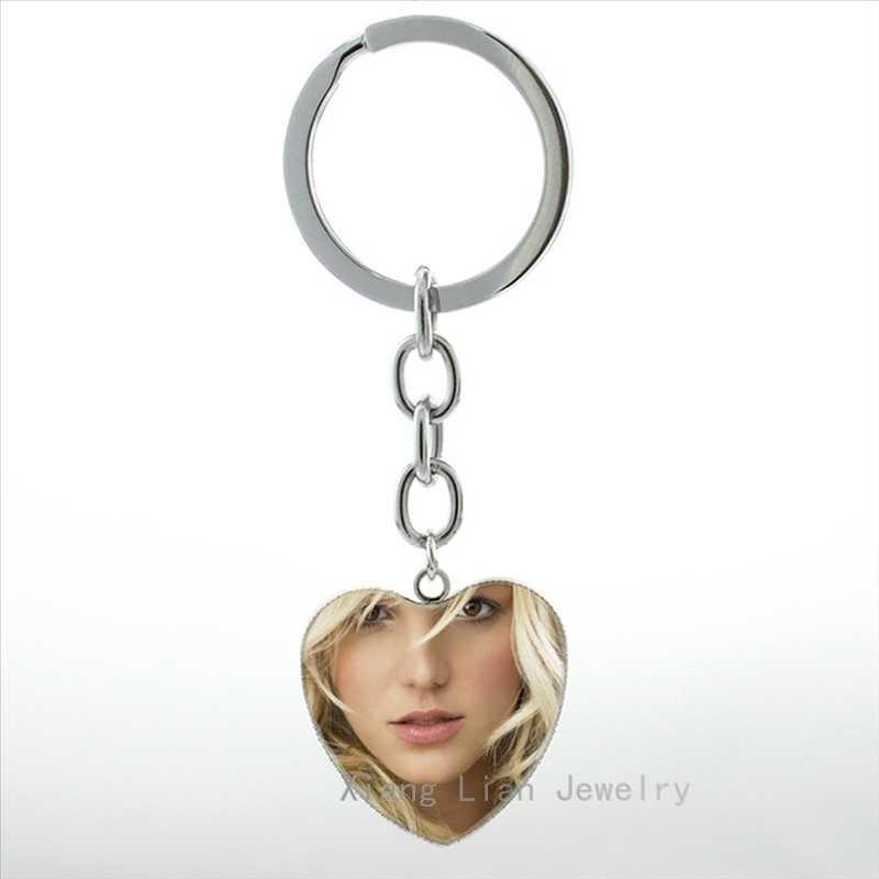 Britney Jean Spears anahtarlık moda amerikan şarkıcı takılar Beyonce Adele kalp kolye anahtarlık yüzük erkekler kadınlar takı HP382