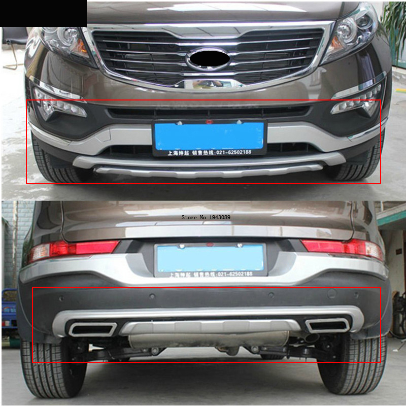 Free shipping 2011-2012 For kia Sportager High quality plastic ABS Chrome Front+Rear bumper cover trim держатели в авто contour держатель в авто