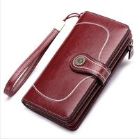 Vintage Large Capacity Genuine Leather Ladies Wallet Two color Oil Wax Leather Women Purse Phone Clutch Card Holder Portefeuille