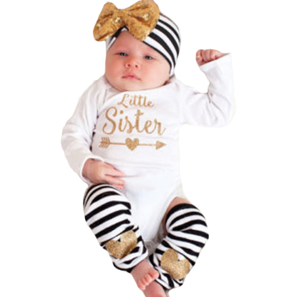 0-18M Newborn Baby Boys Girls Clothes Little Sister Long Sleeve Bodysuit Striped Leg Warmer Bow Hairband 3pcs Kids Clothing