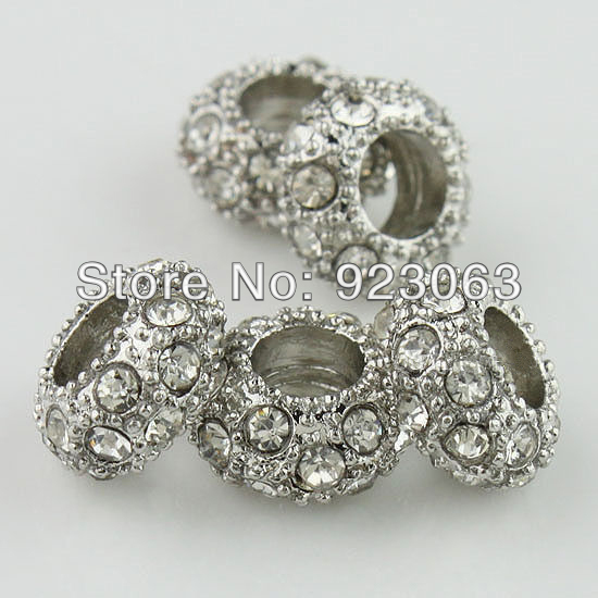 100pcs Clear Rhinestone Gray Plated Alloy Rondelle Spacer Big Hole Charm European Beads For Making Jewelry Bracelet
