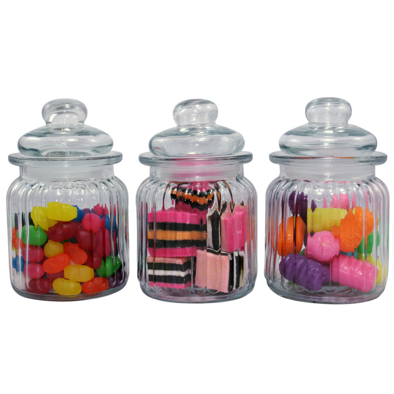 Bulk 12pc Small Ribbed Glass Candy Jars,USD59.40 for 12PC