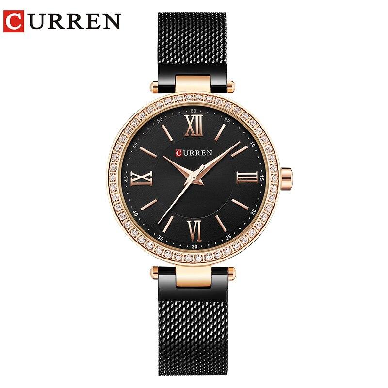 Luxury Brand CURREN Fashion Stainless Steel Bracelet Women Watches Ladies Dress Rhinestone Quartz Female Clock Reloj Mujer Gift