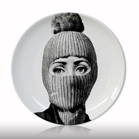 Creative design fornasetti wall hanging decorative plate retro European Elegant style kitchen decoration upscale home supply