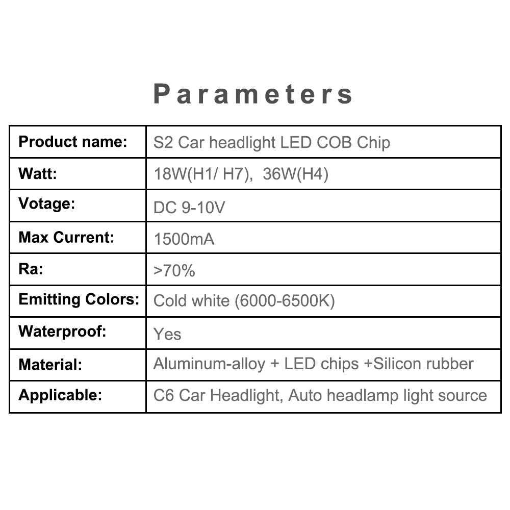 10 pcs H1 H3 H4 H7 H11 H13 COB LED Chip for S2 Car Headlight Bulbs 9005 9006 880 9004 9007 LED Light Source Auto Headlamp Lamp