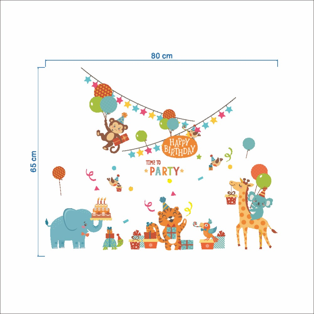 Cartoon Animals Birthday Party Wall Stickers Kids Room Nursery Wallpaper Poster Tiger Monkey Giraffe Elephant Decal In From Home