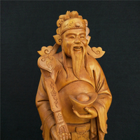 Boxwood Carvings Singular God Of Wealth Office Supplies Carving Pray Sculpture Home Decoration Wood Ornaments Featured